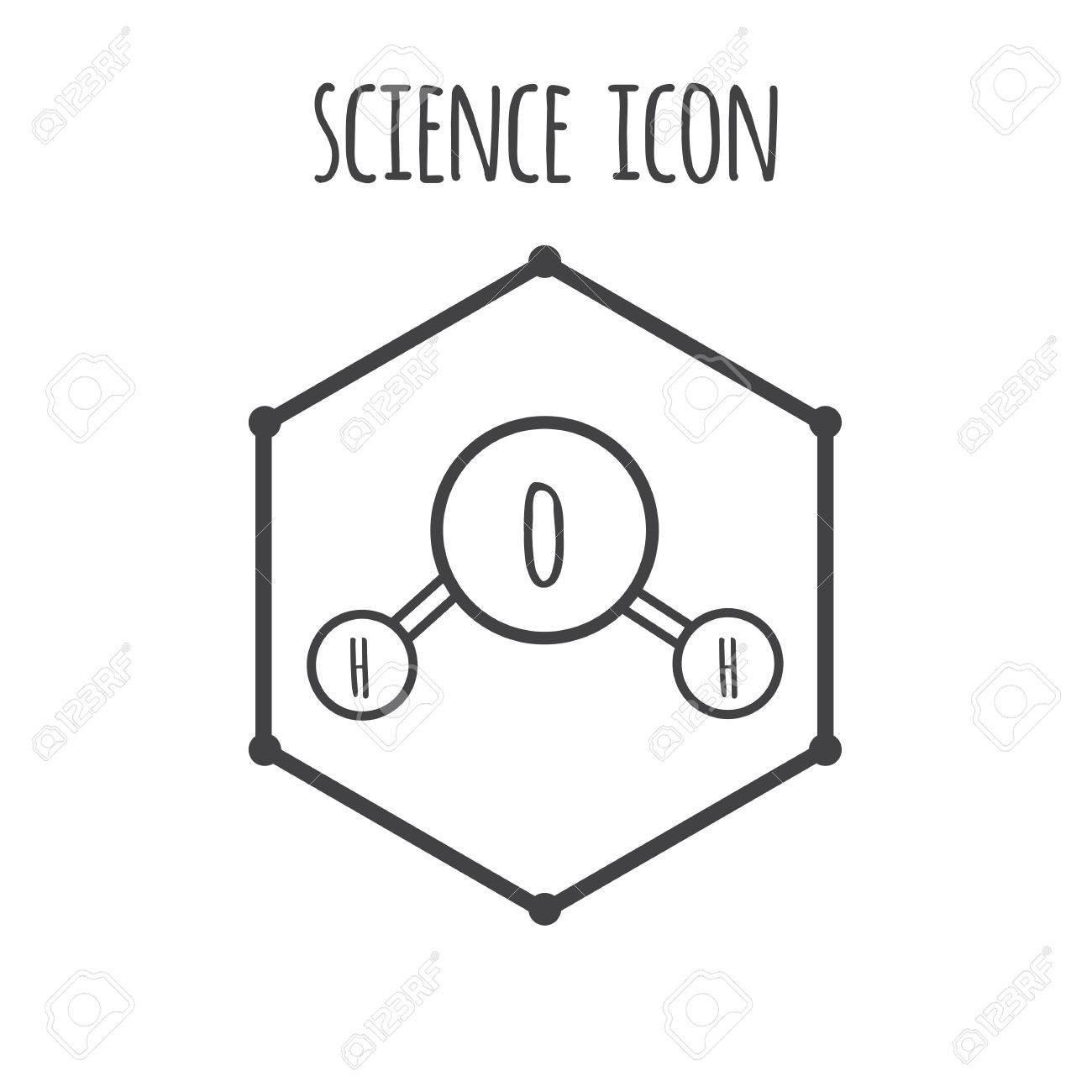 Water Molecule Diagram Black And White.Science Quote Decorated Water Molecule Icon On Hexagon Simple