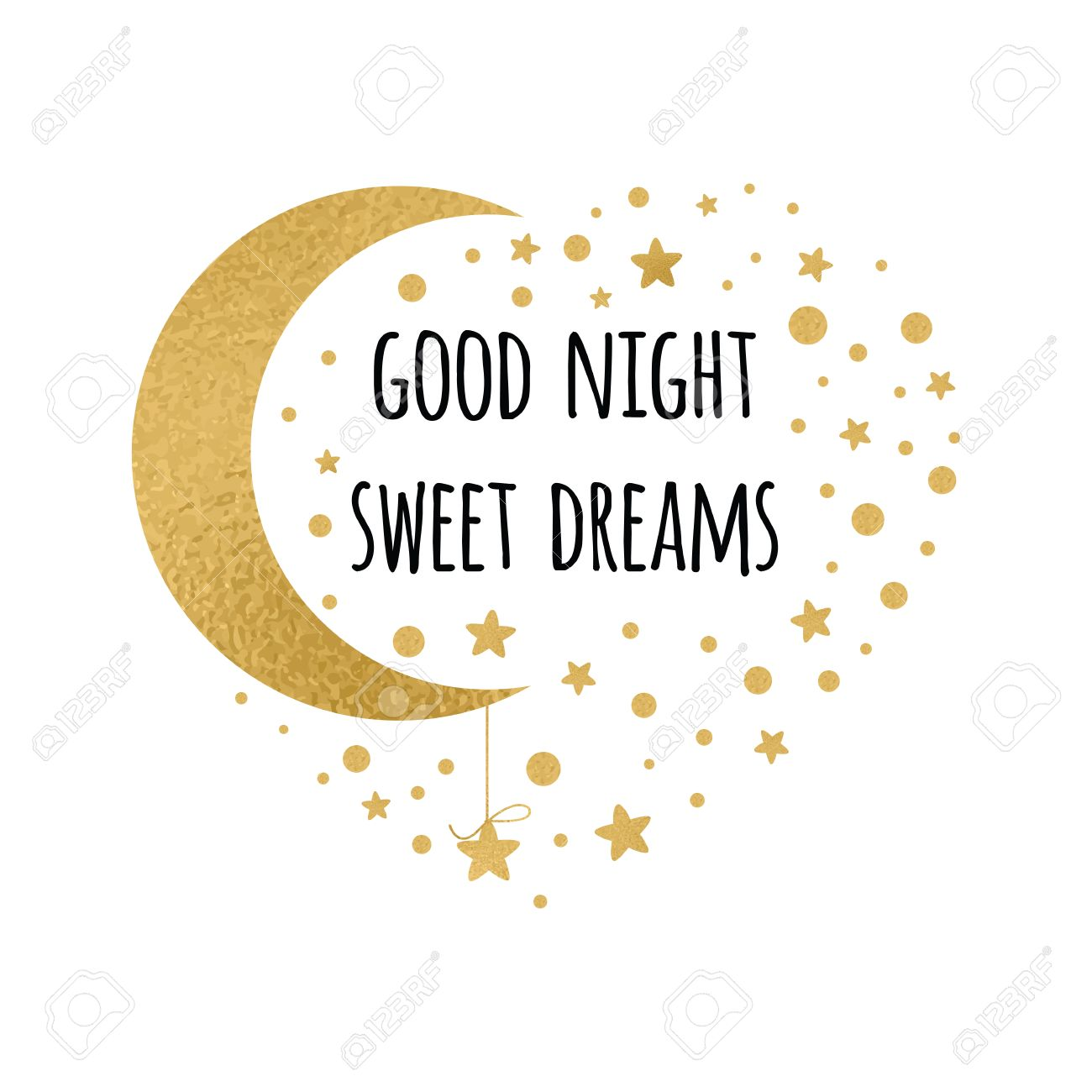 Vector   Vector Print With Text Good Night, Sweet Dreams. Wishing Card  Witing Card With Moon And Stars In Gold Colors On White