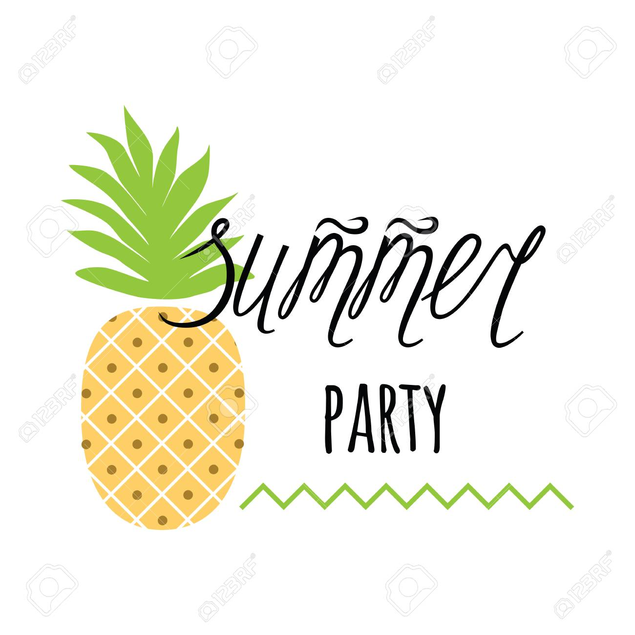vector invitation template with pineapple text summer party on