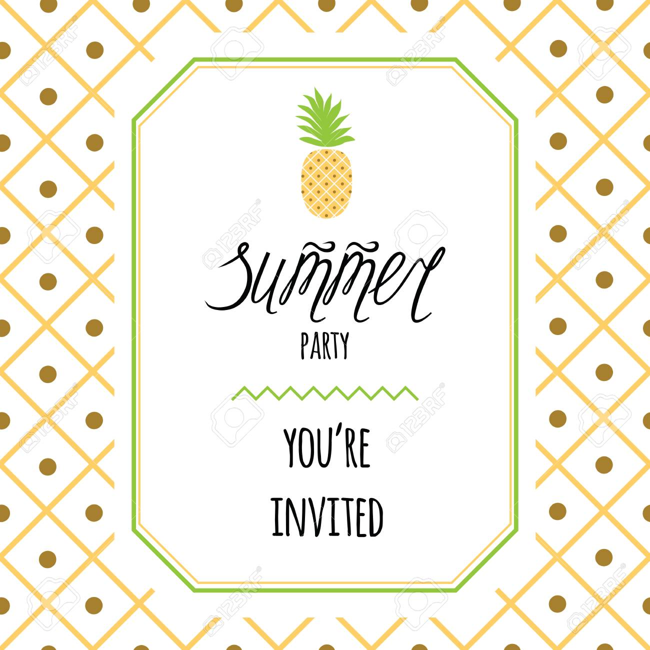 Pineapple Template | Vector Invitation Template With Pineapple Text Summer Party