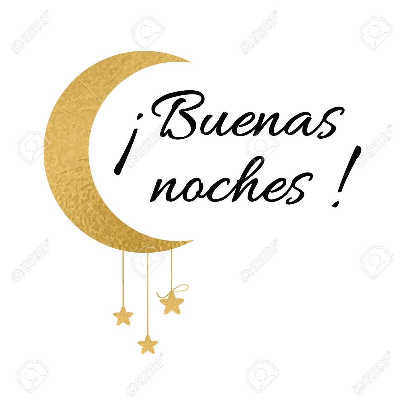 Symbole Avec Texte Bonne Nuit En Langue Espagnole Souhaitant La Bannière Avec La Lune Et Les étoiles Dans Des Couleurs Or