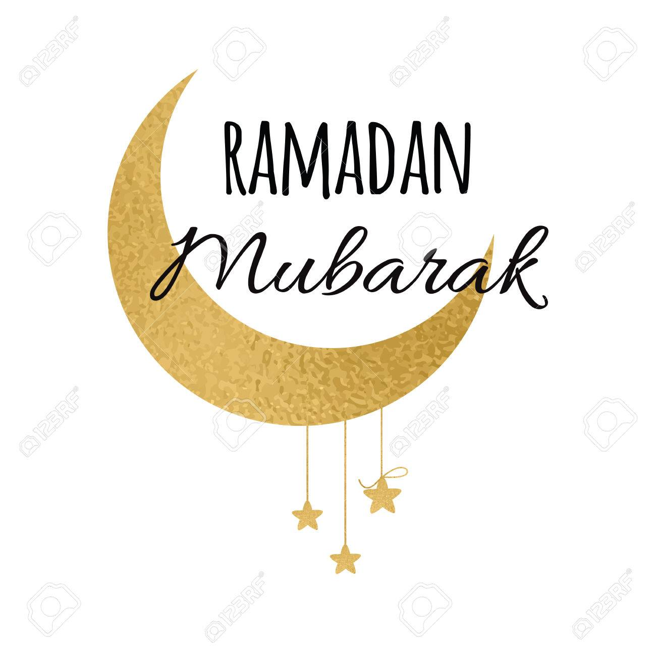 Vector Crescent Moon With Hanging Stars For Holy Month Of Muslim Community Ramadan Mubarak Phrase