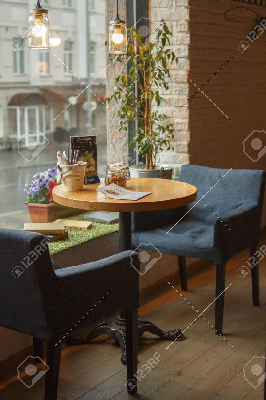 Cozy Cafe Table Setting Stock Photo