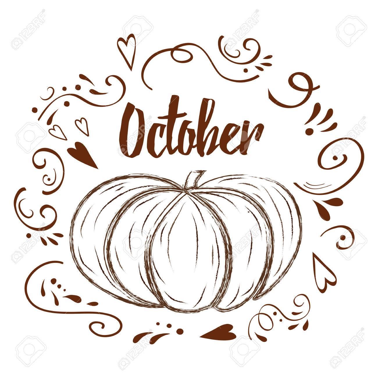 手書き風カボチャ 心 カボチャ 白の背景上のテキストと文字体裁の要素 10 月のイラスト素材 ベクタ Image