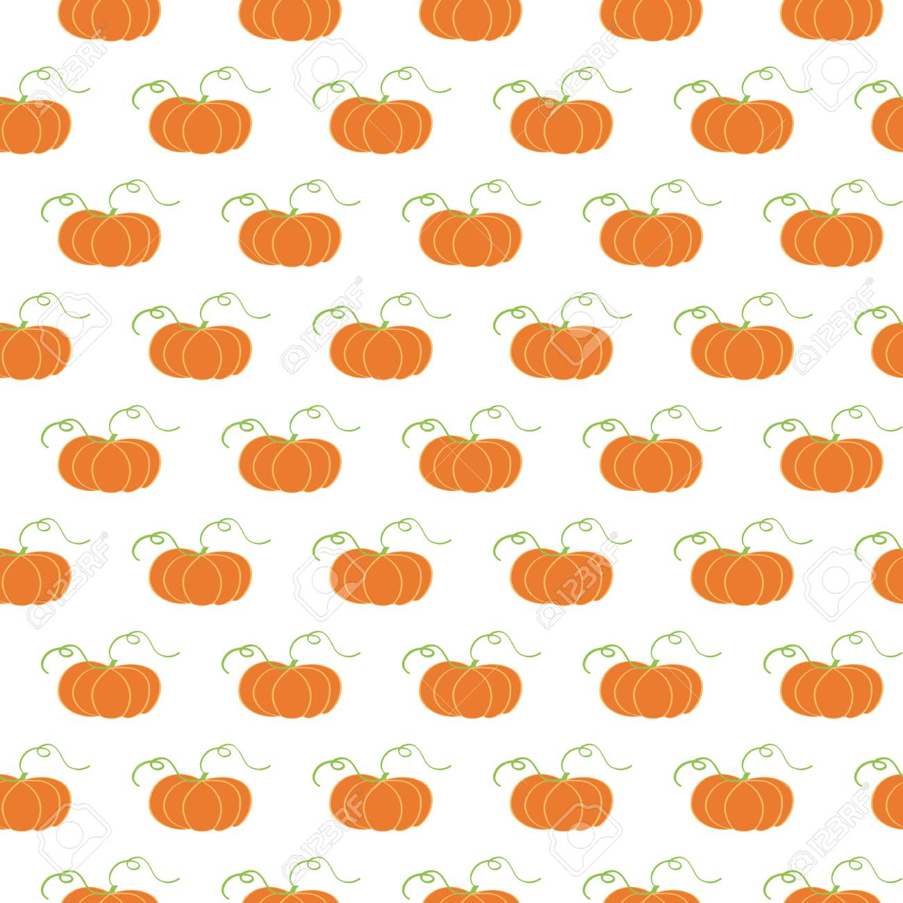 Vector Illustration With Hand Drawn Pumpkin Background Seamless