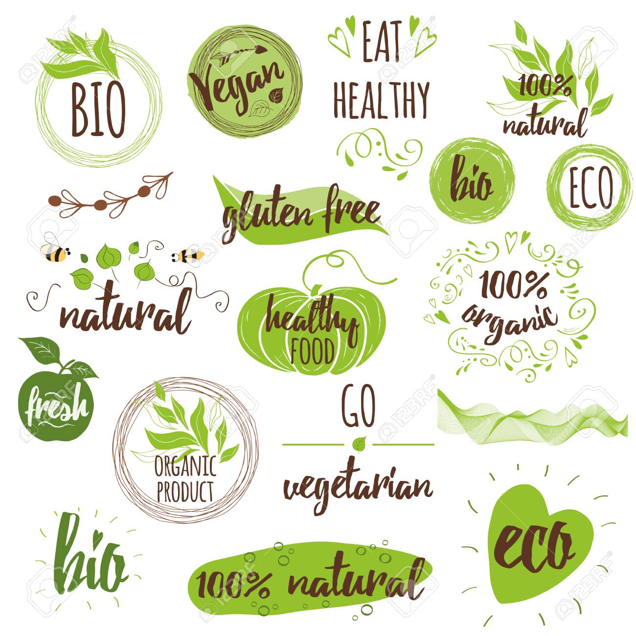 Set of healthy living icons