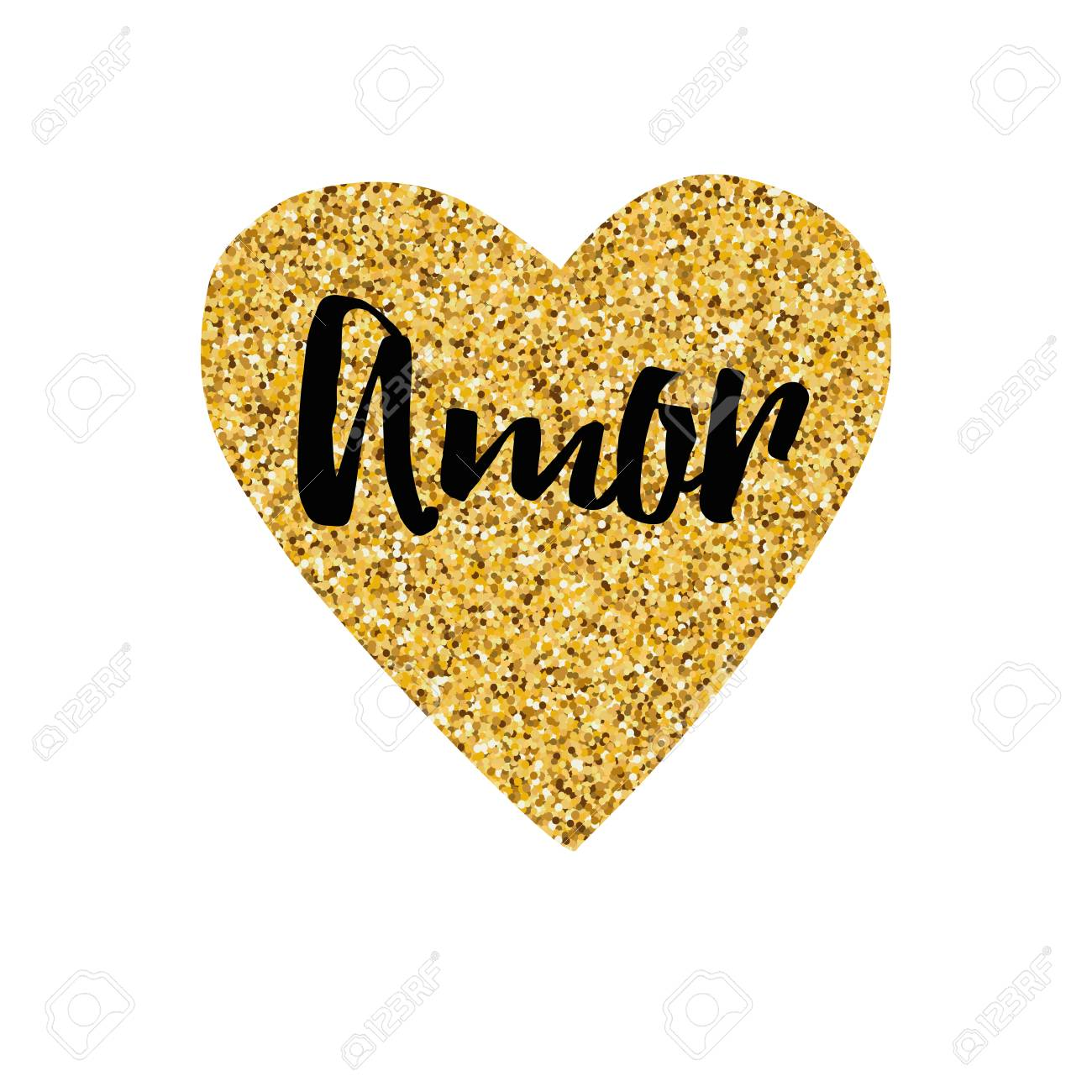Hand Drawn Gold Sparkle Heart Text Love Typography Print In Black Color Design