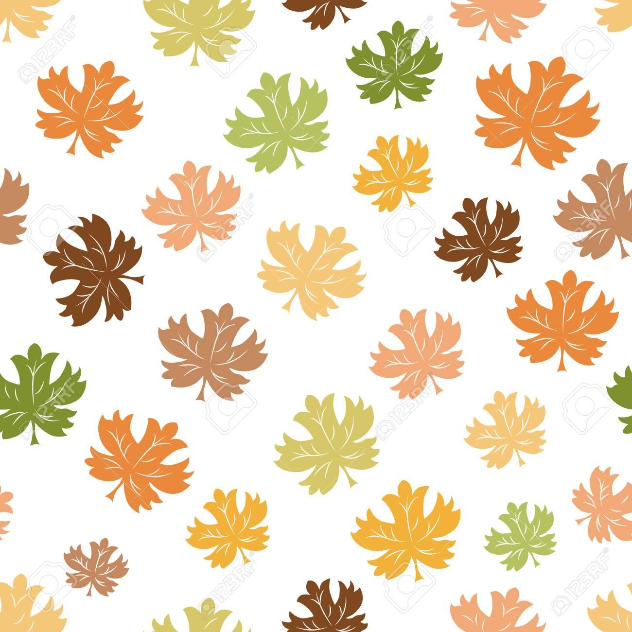 hand drawn cute autumn background seamless pattern of falling