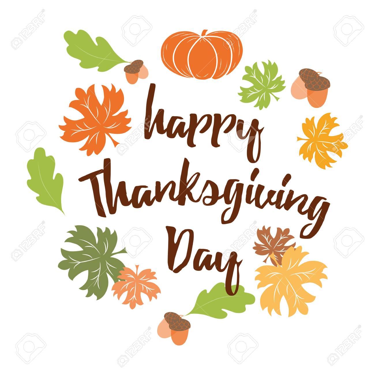 Hand Drawn Thanksgiving Wish Happy Thanksgiving Day Orange Pumpkin