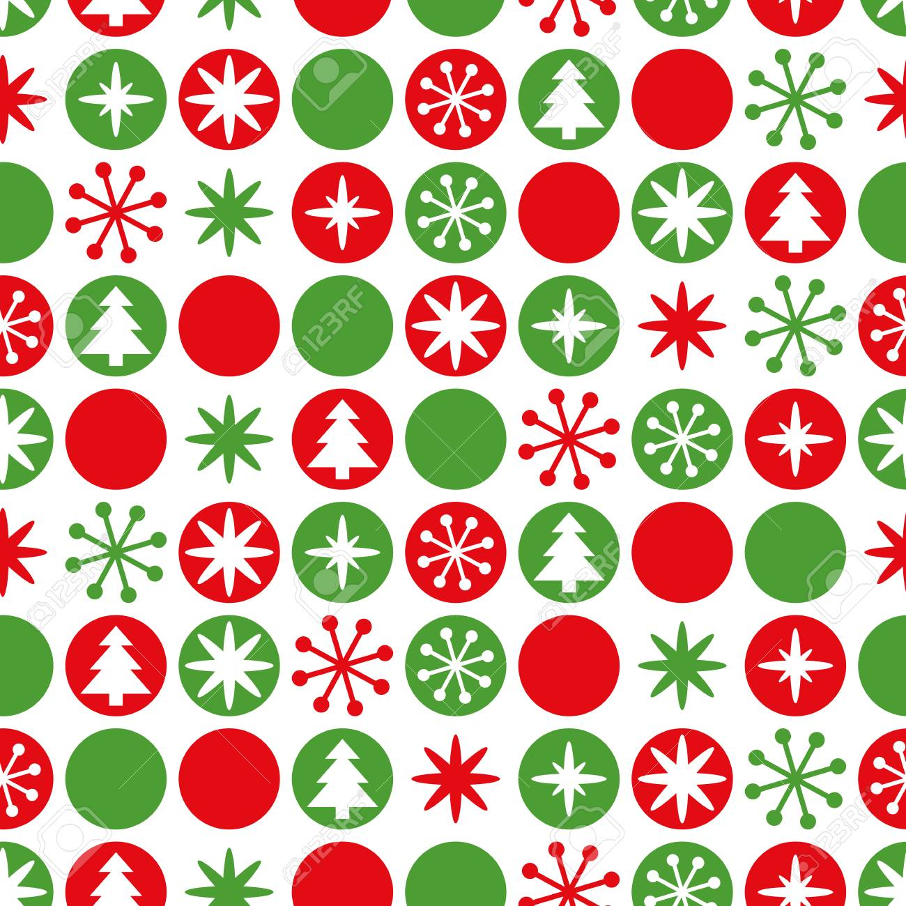 Christmas Green And Red.Simple Geometric Seamless Christmas Pattern Traditional Green