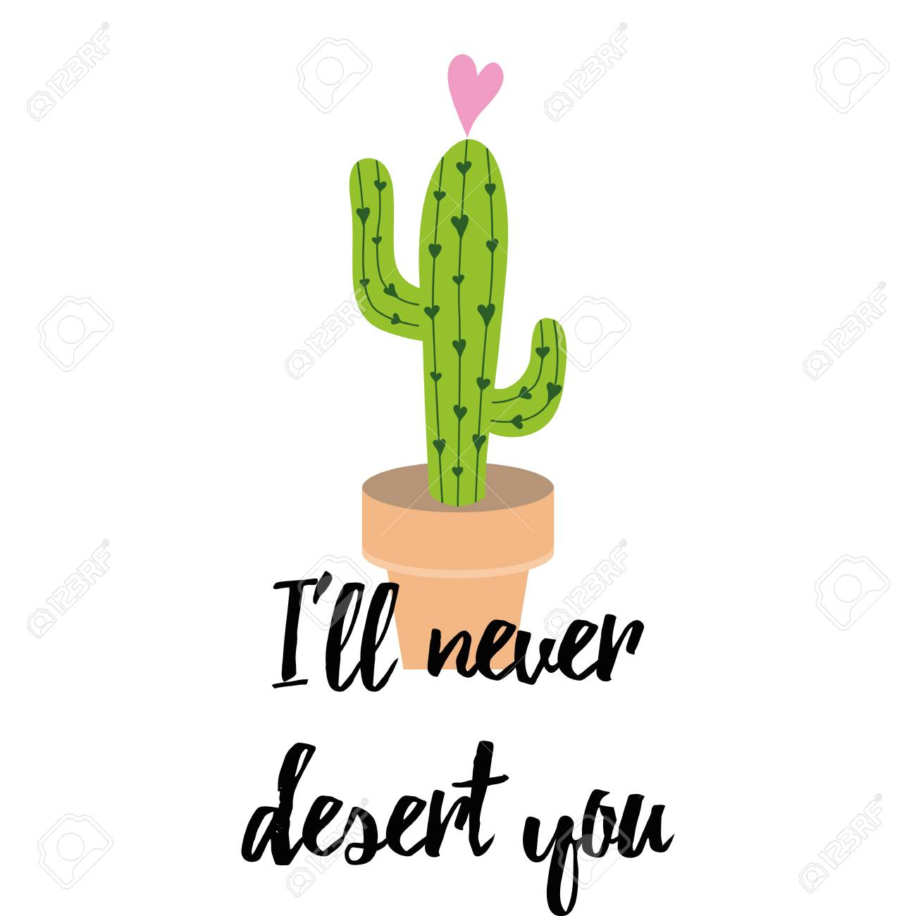 cute hand drawn cactus print inspirational funny quote stock