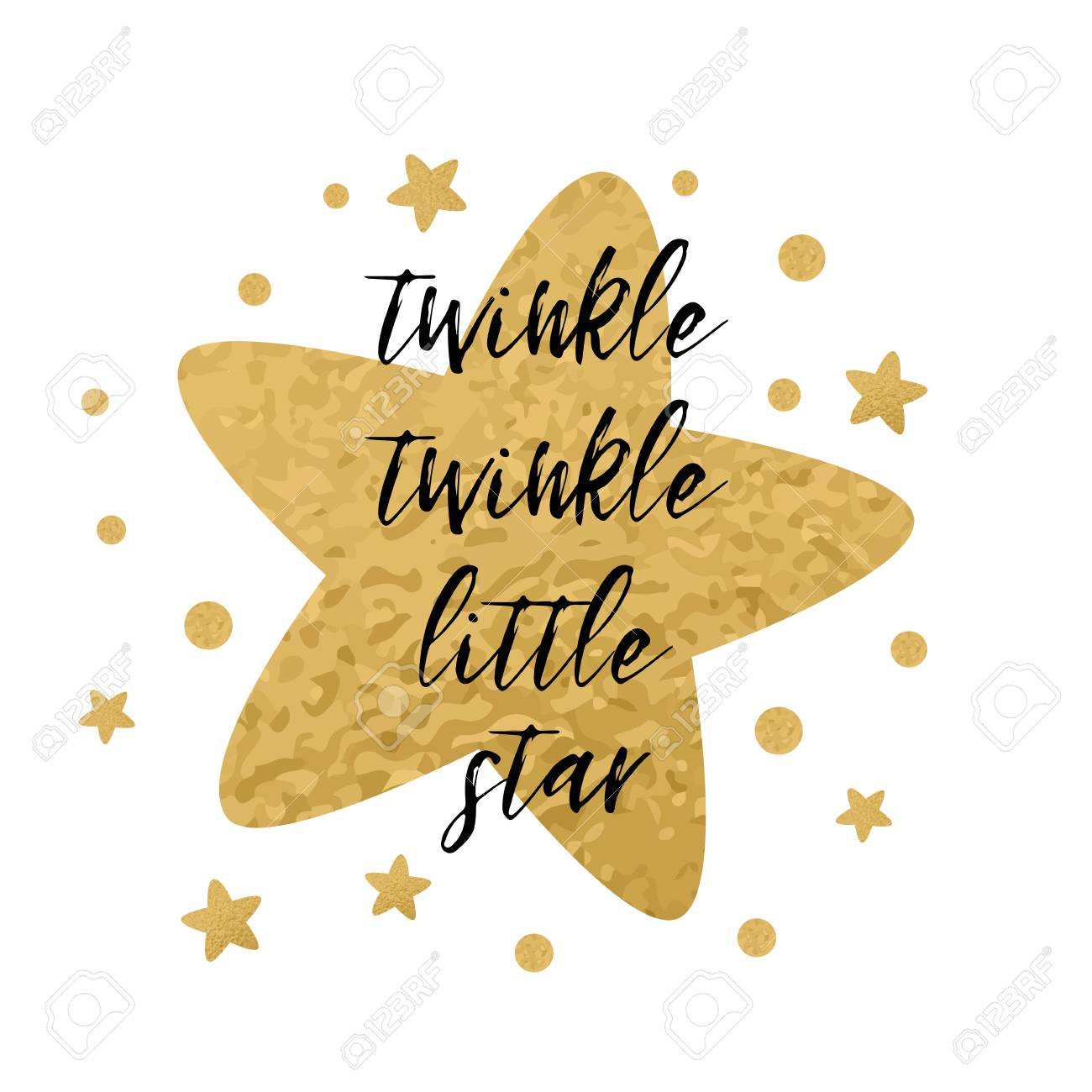 215ff0c6c Twinkle twinkle little star text with cute golden stars for girl baby  shower card template.