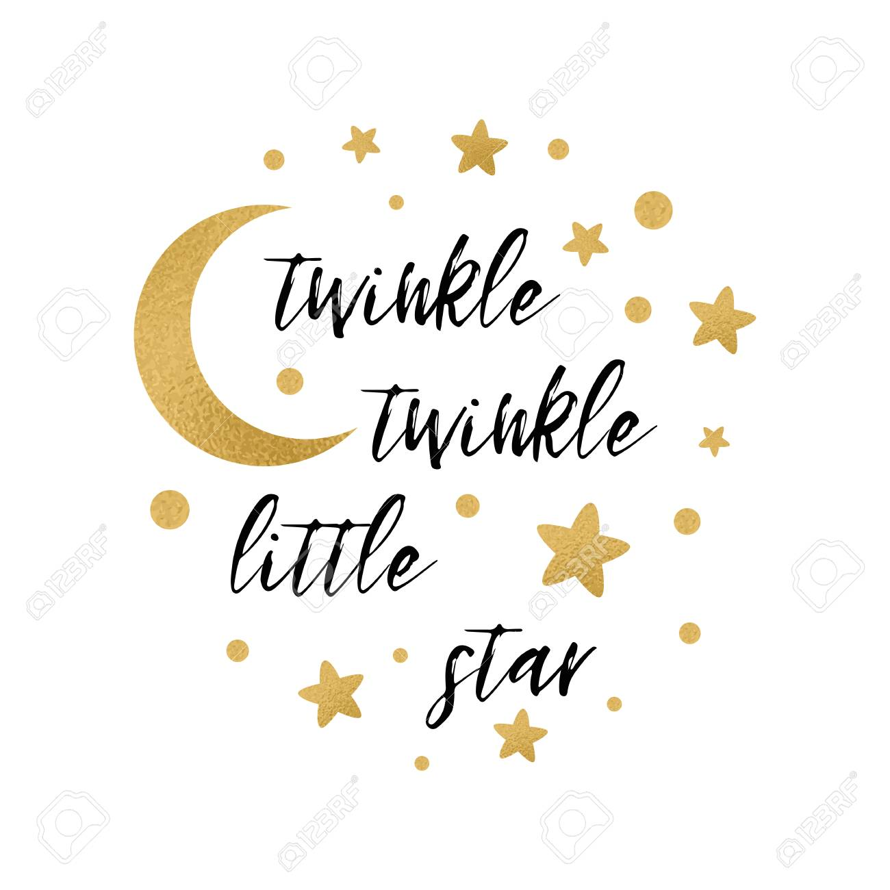 picture relating to Baby Shower Card Printable identify Twinkle twinkle minor star terms with adorable gold star and moon..