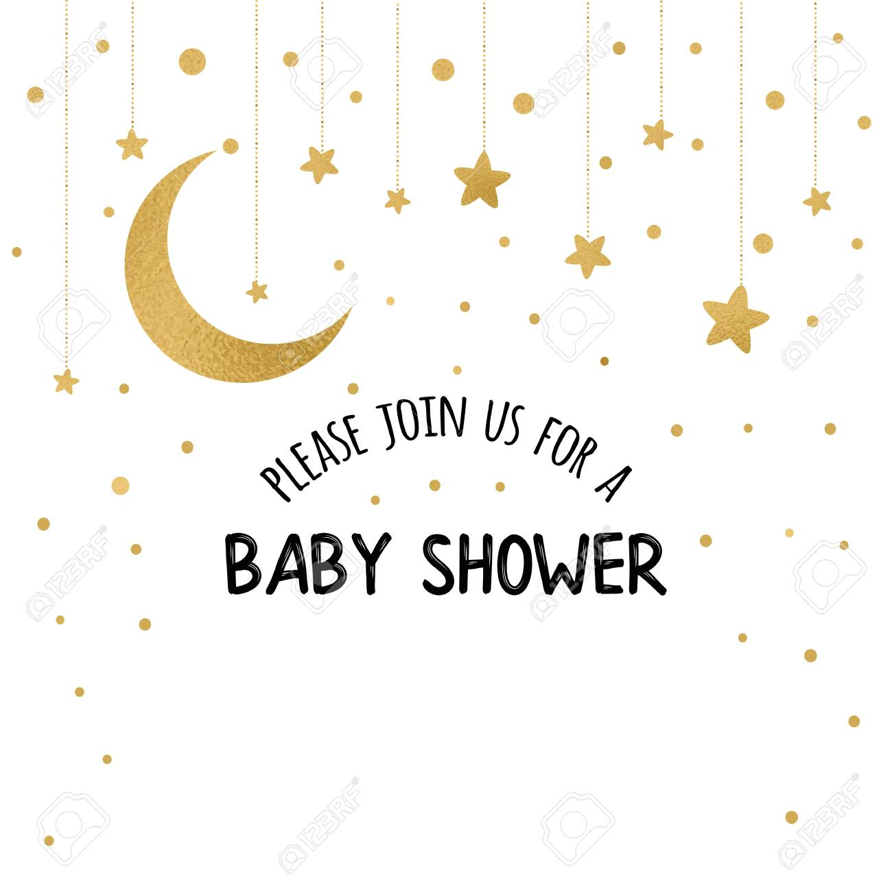 Vector Baby Shower Invitation Template With Sparkle Golden Moon