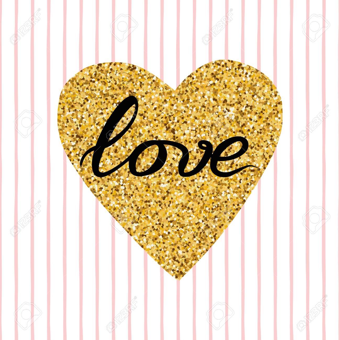Mano Dibujada Moderna Forma De Corazon De Oro Brillo Frase Amor En