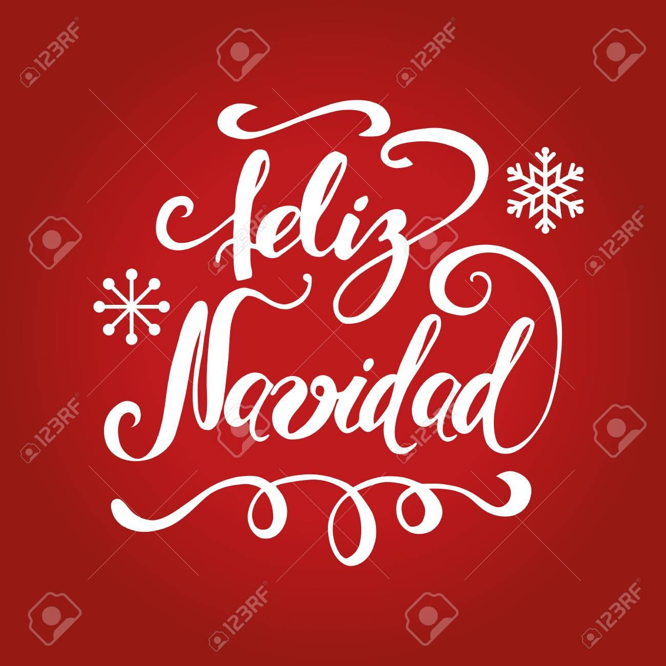 Noel En Espagnol Texte De Lettrage à La Main Illustration De Vecteur Joyeux Noël En