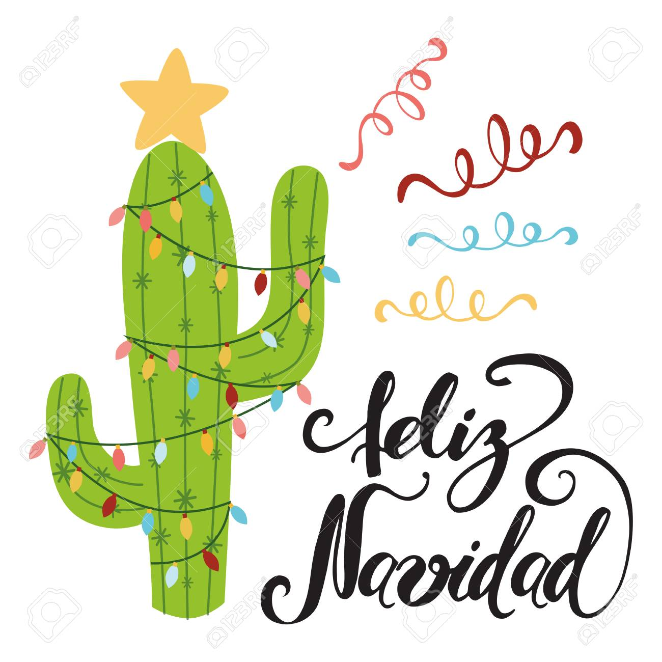 Merry Christmas banner. Happy cactus in a Christmas garland. Cute vector greeting card, print, label, poster, sign. Title in Spanish. Vector illustration. Hand drawn mexico design. Hand lettering - 91479100