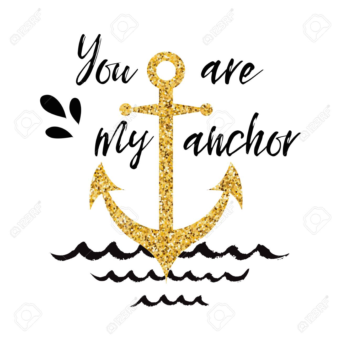 Typographic Banner With Phrase You Are My Anchor Decorated Golden Seashells Wave