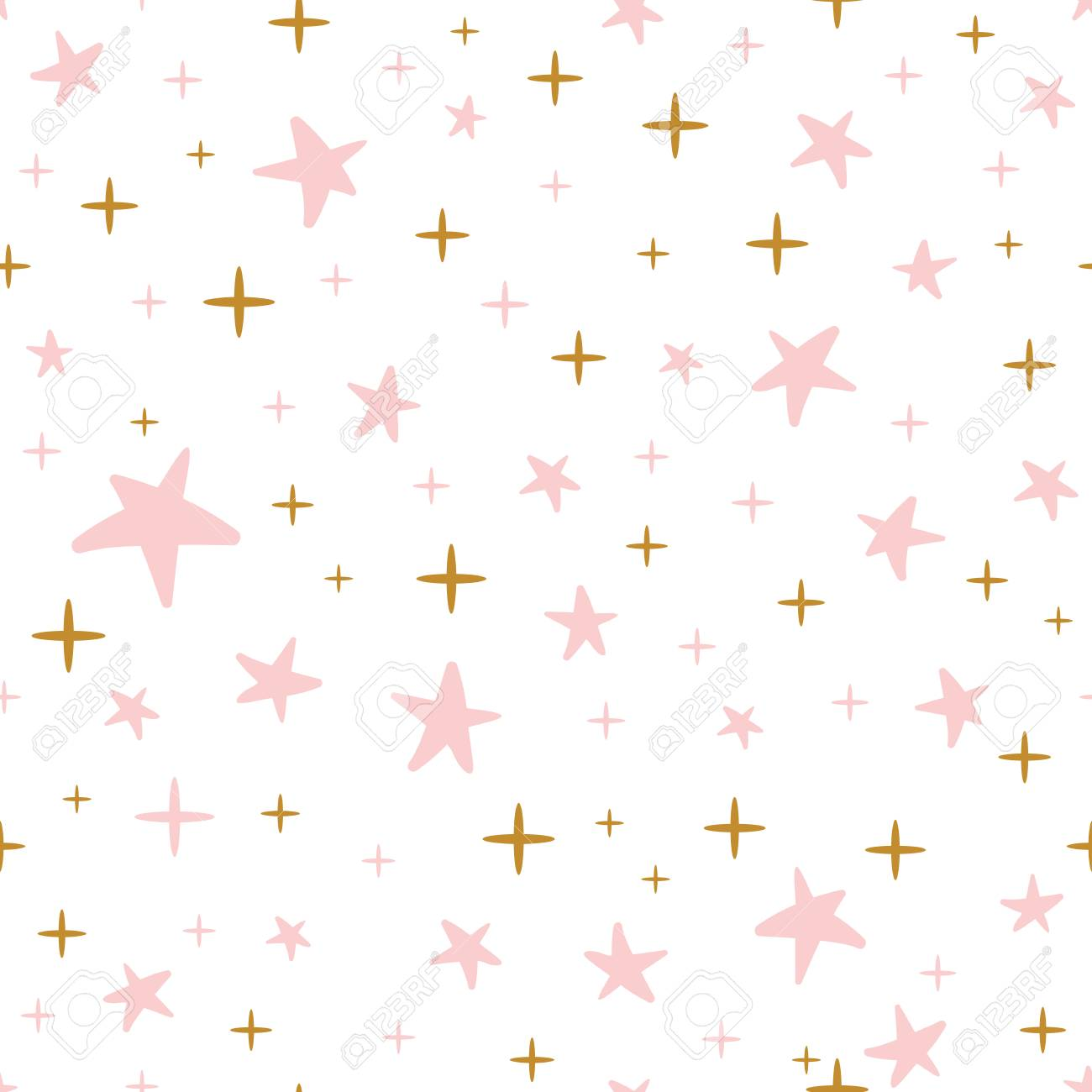 Hand Drawn Seamless Pattern Decorated Gold Pink Stars For Christmas Background Or Baby Shower Wallpaper