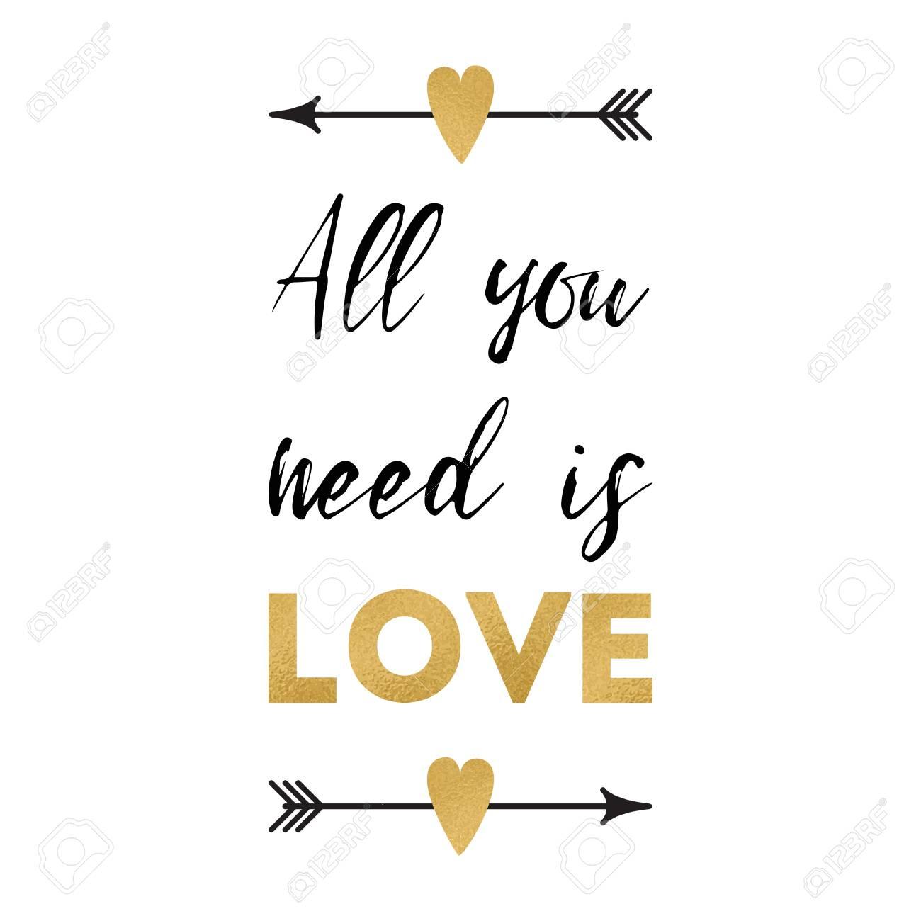 Tudo O Que Você Precisa é Amor Vector Cartão De Dia Dos Namorados Com Frase Positiva Decorado Coração Romântico Flechas Elemento De Design Bonito Em
