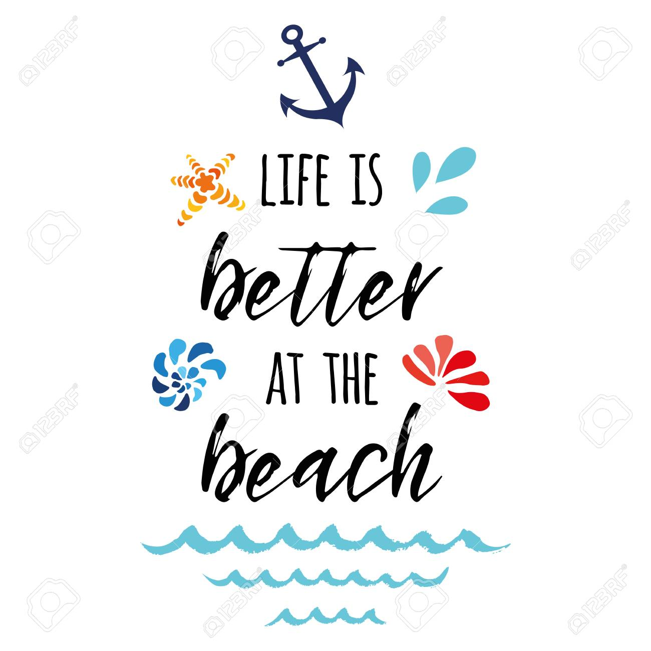 dee54d5648 Life is better at the beach. Vector inspirational vacation and travel quote  with anchor,