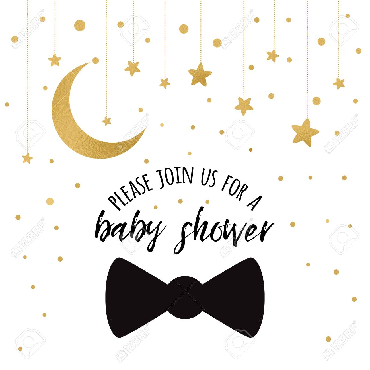 Baby shower invitation template with sparkle golden moon gold baby shower invitation template with sparkle golden moon gold stars gentleman bow tie on filmwisefo