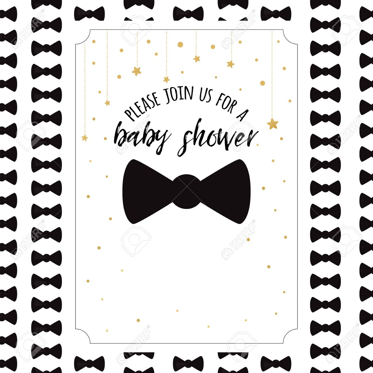 Baby Shower Invitation Template With Sparkle Golden Stars Bow