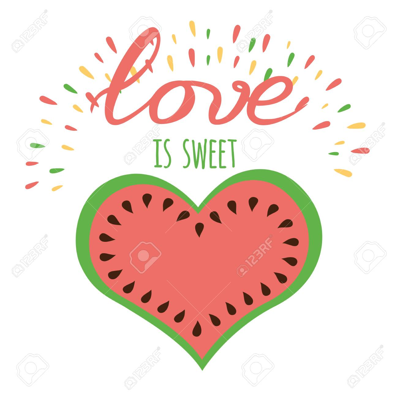 Vector Romantic Positive Banner Love Is Sweet Watermelon Shape