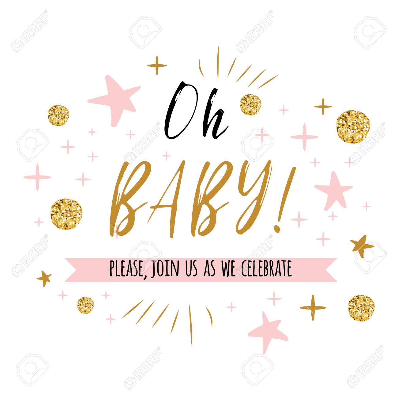 Ggentle Oh Baby Text With Cute Gold Pink Colors For Girl Baby Stock Photo Picture And Royalty Free Image Image 94391370