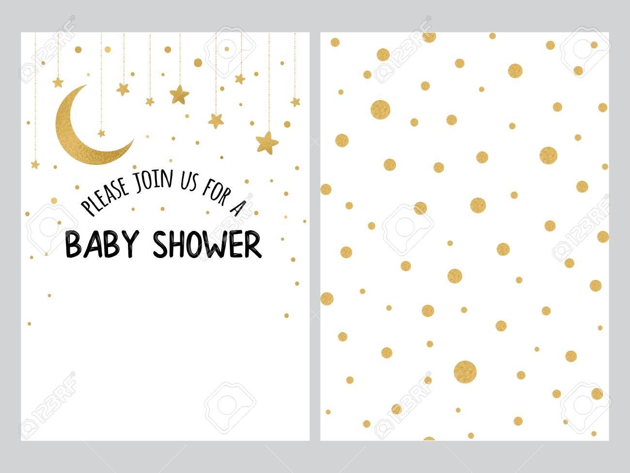 baby shower invitation template background with gold polka dot