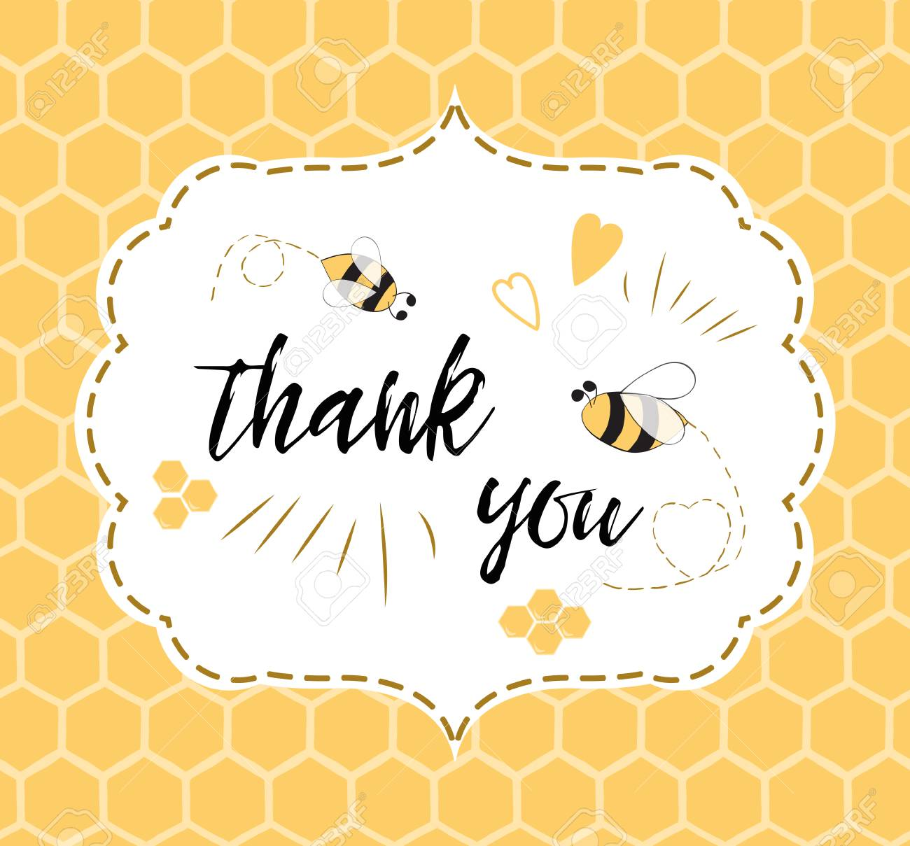 Baby Shower Invitation Template With Text Thank You With Bee
