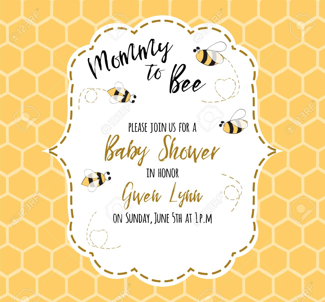 Baby Shower Invitation Template With Text Mommy To Bee, Honey ...