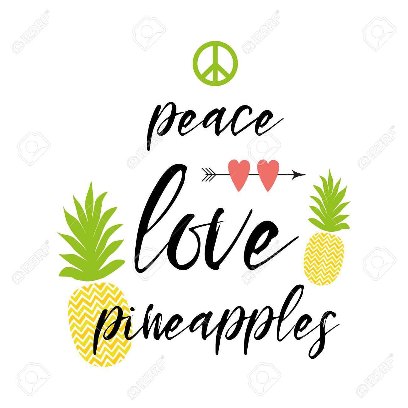 Text peace, love, pineapples decorated fresh ananas, hearts...