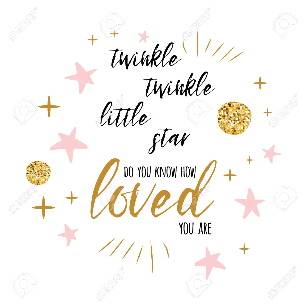 Twinkle Twinkle Little Star Text With Gold Ornament And Pink