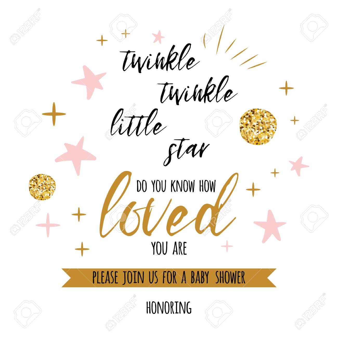 twinkle twinkle little star text with cute gold pink colors for