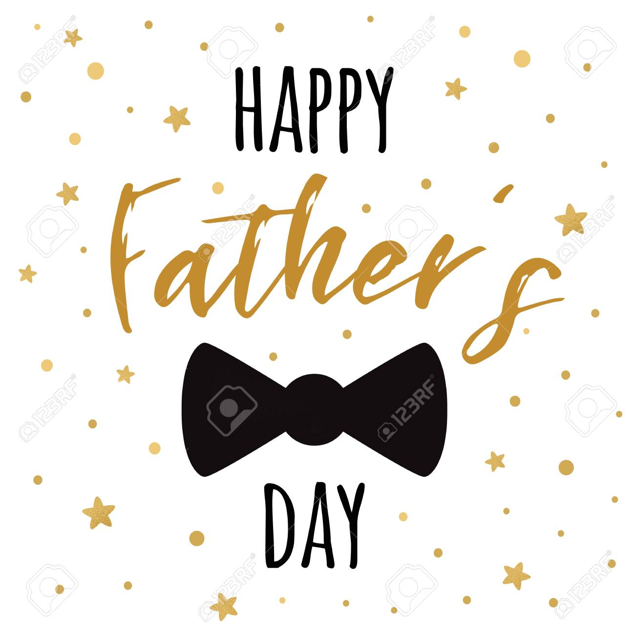 photo about Happy Father's Day Banner Printable named Fathers working day banner design and style with lettering, black bow tie erfly