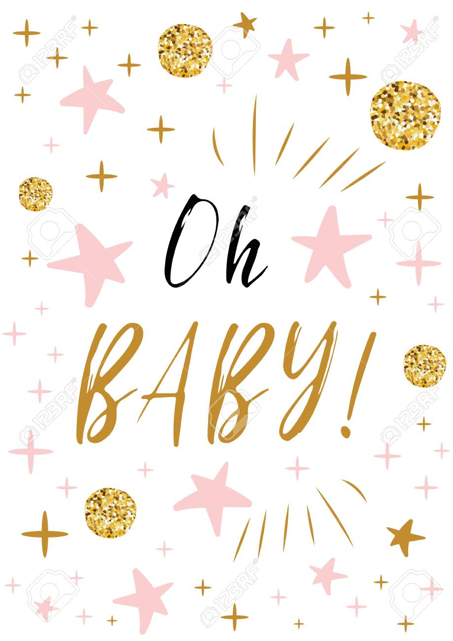 Oh Baby Text With Gold Balls And Pink Star For Girl Baby Shower