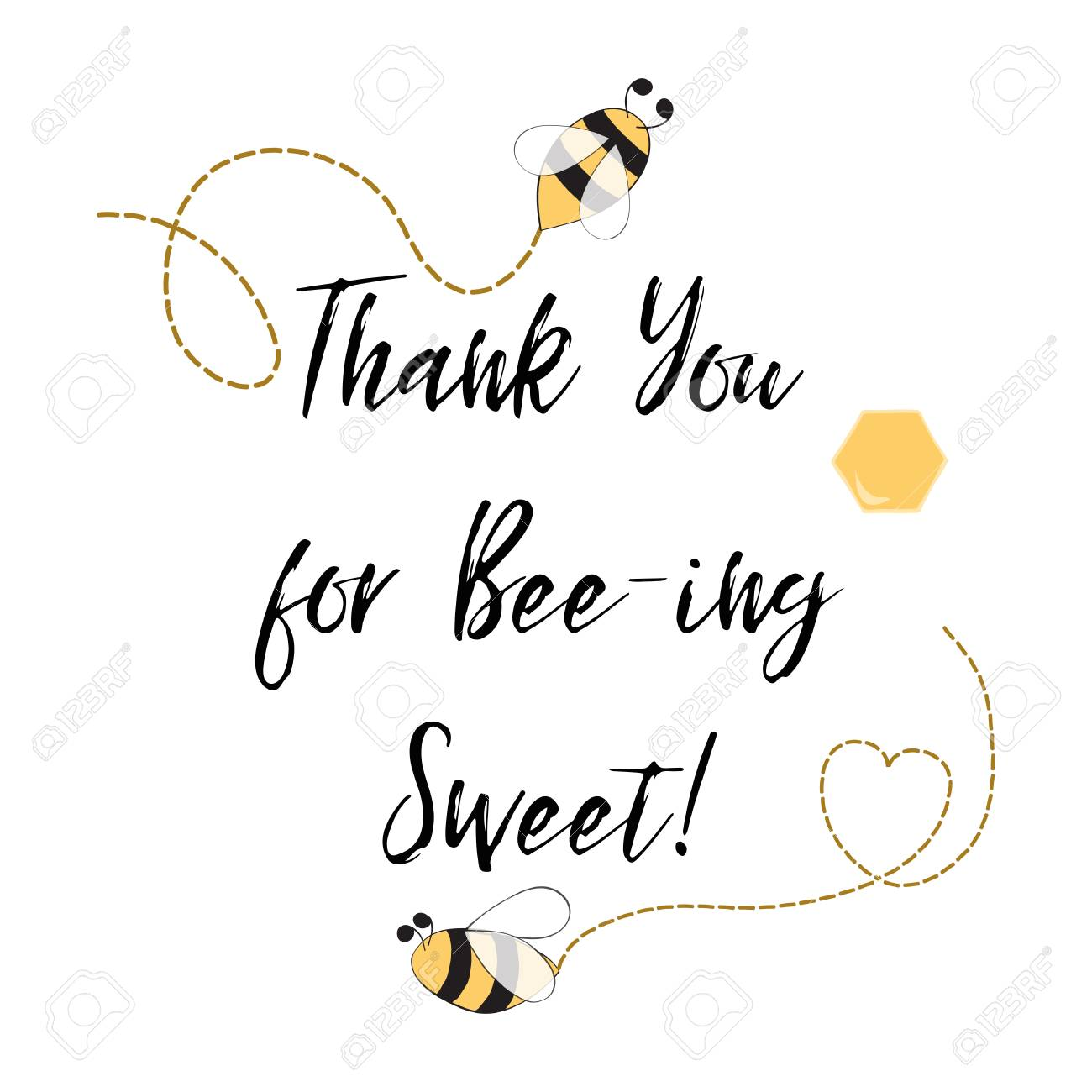 Text Thank You For Being Sweet With Bee Honey Cute Card Design