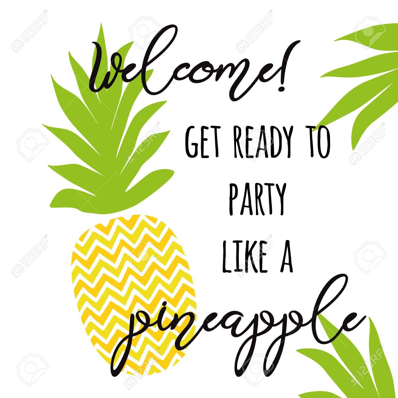 positive summer invitation for pineapple fiesta decorative print