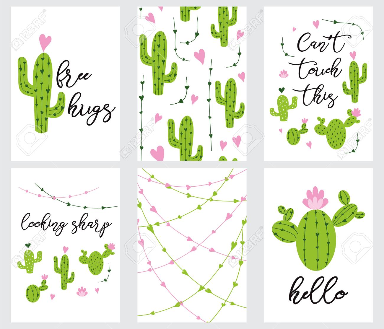 photo regarding Cactus Printable called Established lovable well prepared-in the direction of-hire present tags with cactus Printable variety..