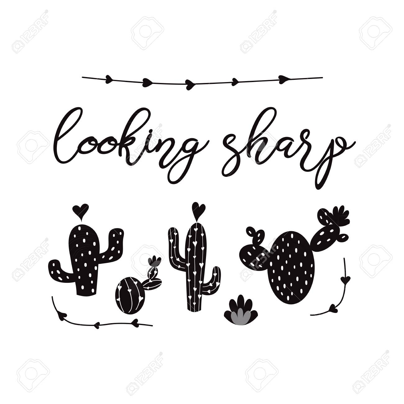 Looking Sharp Vector Card Cute Hand Drawn Prickly Cactus Print With