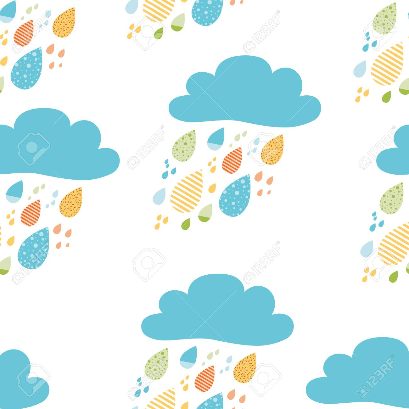 Funny colorful drops of rain clouds Vector autumn seamless pattern