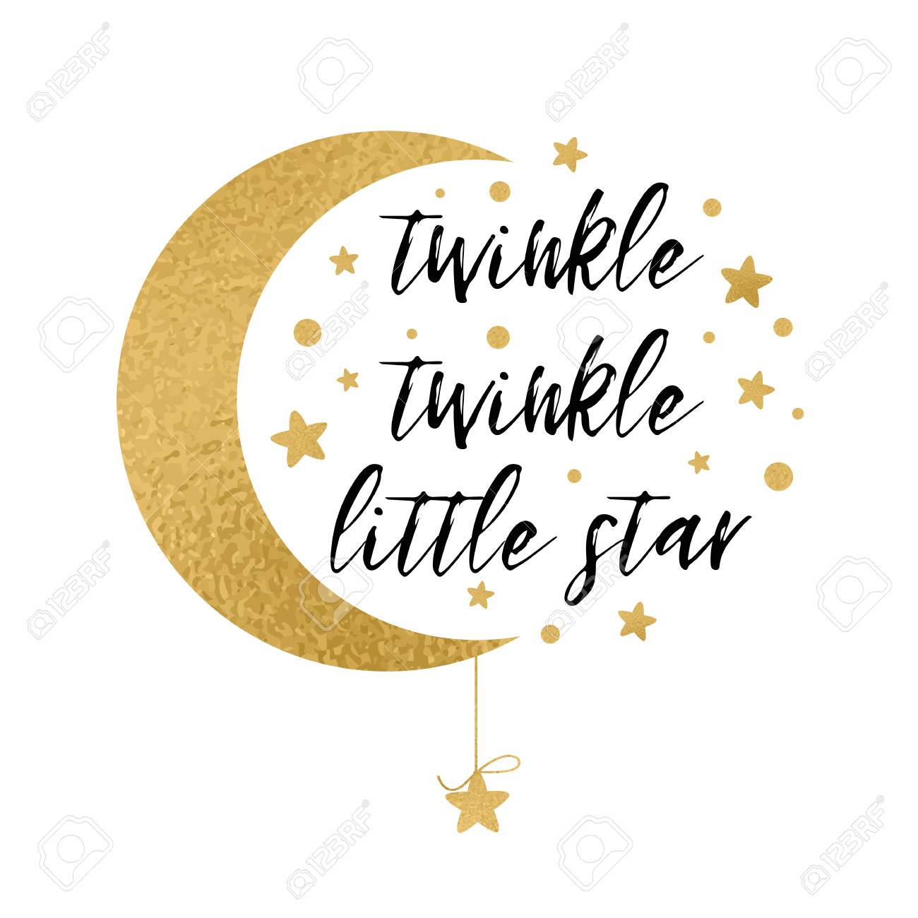 Twinkle twinkle little star text with gold star and moon for baby shower card design template - 110093740