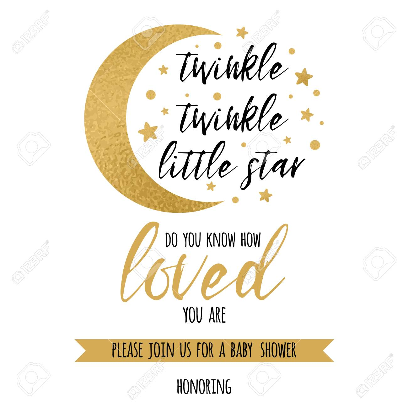 graphic regarding Free Printable Twinkle Twinkle Little Star Baby Shower Invitations identified as Twinkle twinkle tiny star phrases relished with gold star and moon..