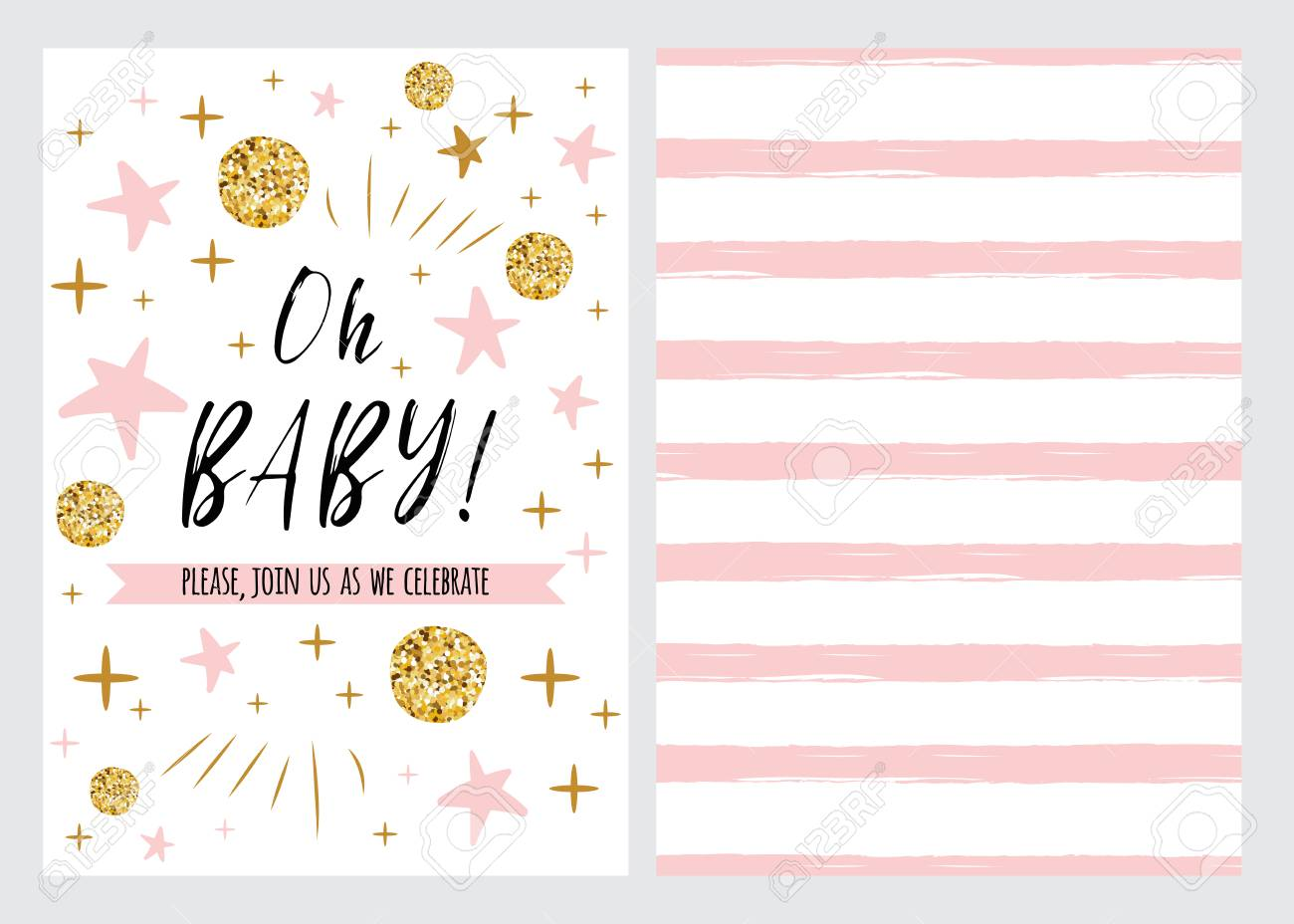Baby Shower Invitation Template With Sparkle Gold Balls Pink