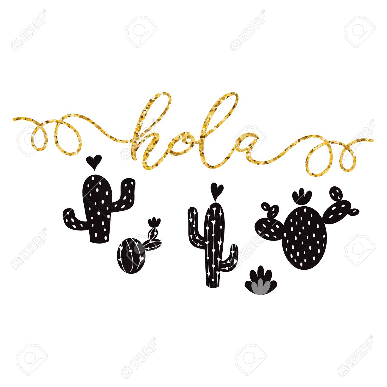 picture regarding Cactus Printable titled Gold terms Hi in just Spanish Hand drawn lovable black cactus Printable..