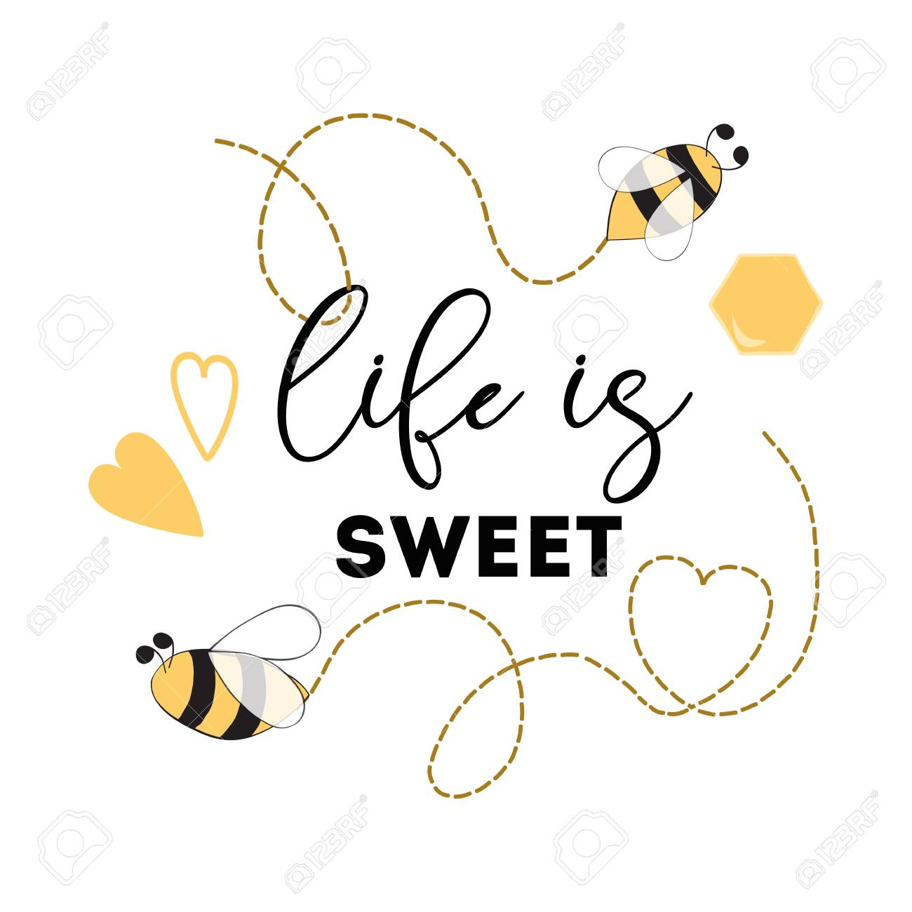 image relating to Bee Printable referred to as Quotation Daily life is adorable Honey Bee Good printable signal Centre symbol..