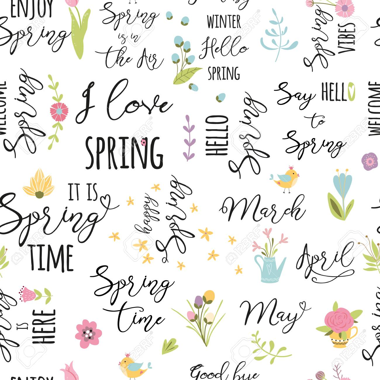 floral pattern bloom flowers spring elements quote seamless