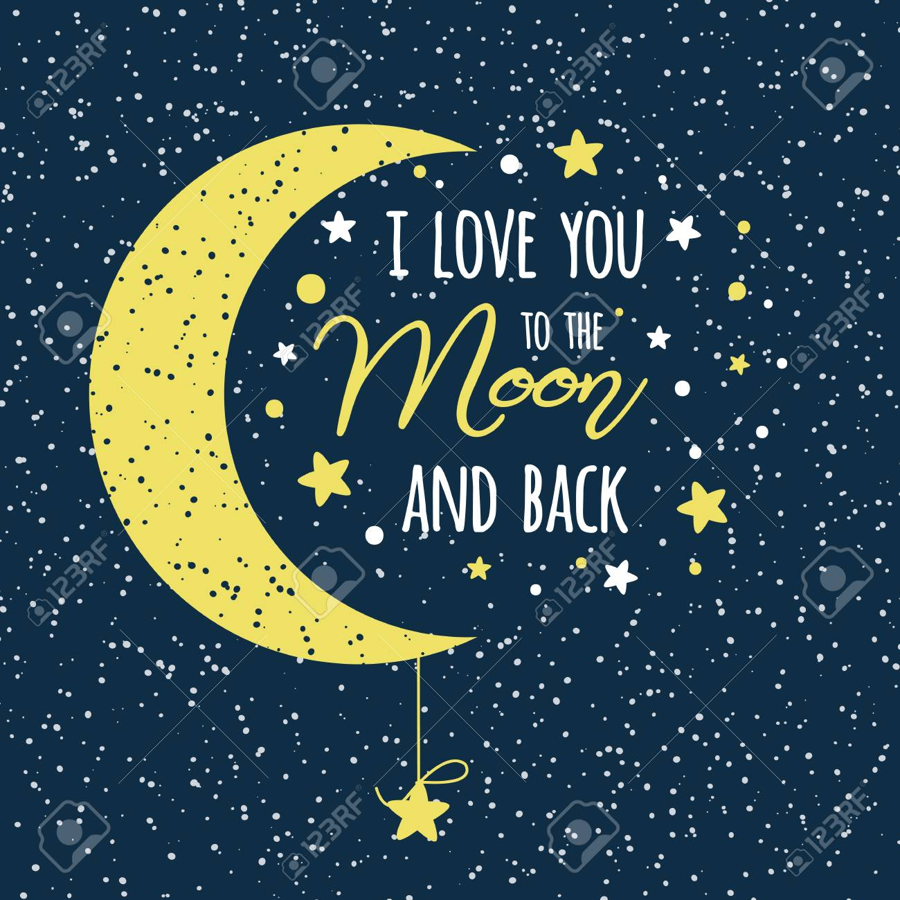 I love you to the moon and back. St Valentines day inspirational quote yellow moon sky full of stars - 116736868
