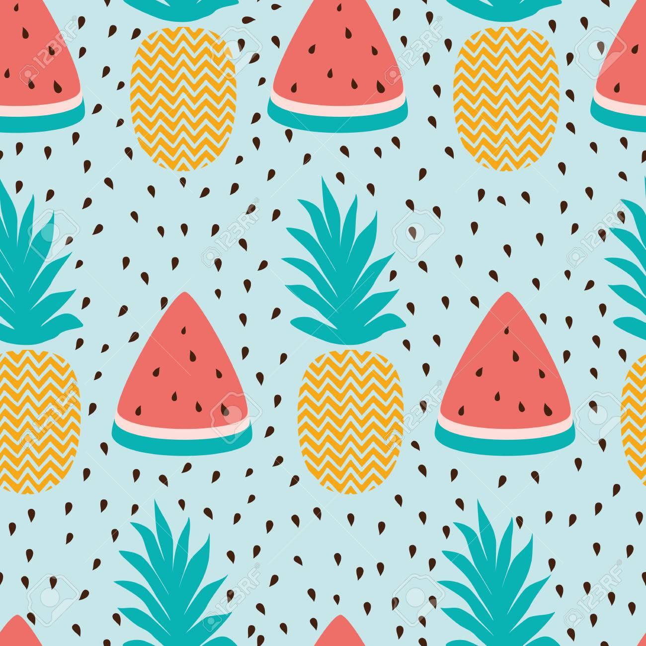126887794 seamless wallpaper pattern with watermelon slices pineapple summer fresh fruit design vector illustr
